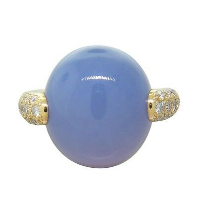 New Pomellato Luna 18K Gold Diamond Chalcedony Ring
