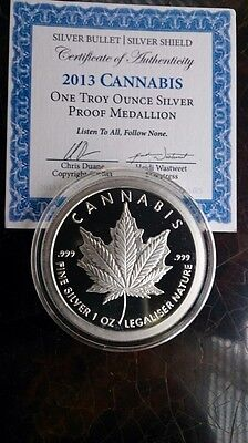 2013 Silver Proof Cannabis Sbss Original -Chris Duane- 1 Troy Oz Round.999 Fine