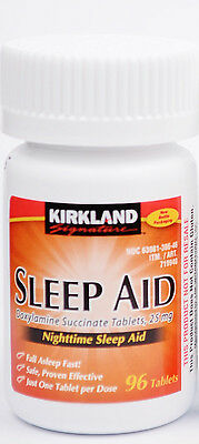 Kirkland Sleep Aid (Doxylamine succinate) 25 mg 96 Tablets - Exp 02/2020