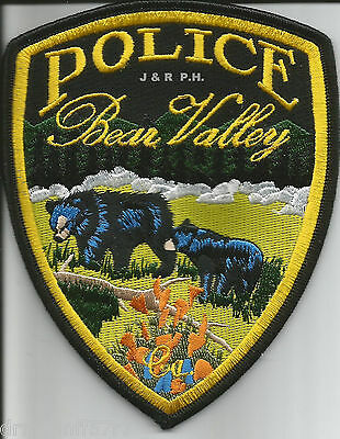 "Bear Valley - 2 Bears, California  (4"" x 5"" size)  shoulder police patch (fire)"