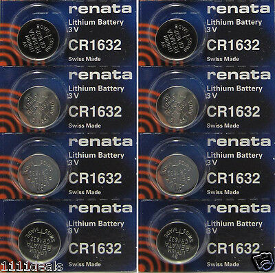 8 Pcs Renata Lithium Coin Battery 3v Keyless Entry and Remote Controls CR1632