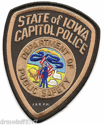 """Iowa Capitol Police - D.P.S.  (3.5"""" x 4.25"""" size)   shoulder police patch (fire)"""