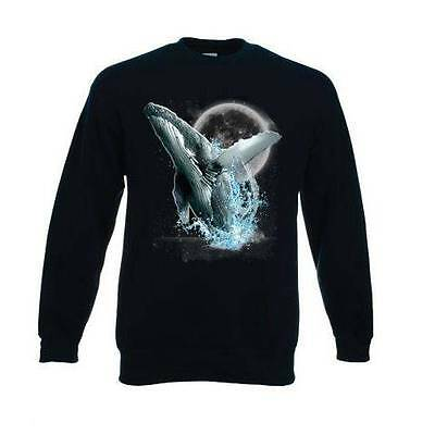 Whale / Whales Wilderness Design No 18256 Printed On A FOTL Black Sweatshirt