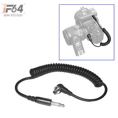 "3.5mm 1/8"" Plug to Male FLASH PC Sync Extend Spring Cable Cord with Screw Lock"