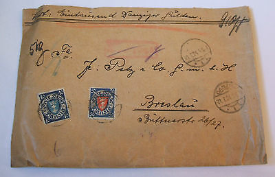 july 1924   postally used envelope with danzig  stamps to breslau Germany