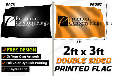 2'x3' Full Color Double Sided Custom Flag with Grommets