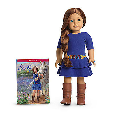 """NEW IN BOX American Girl Saige 18"""" 2013 Doll COMPLETE w/ Book Ring Earrings Sage"""