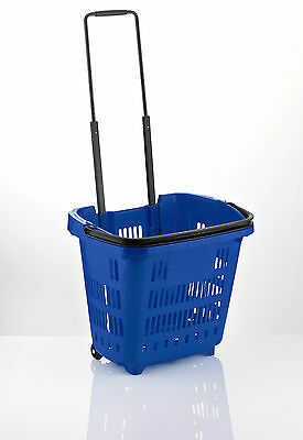 "5 x Plastic Shopping Trolley Basket (34L) Blue. Araven ""Shop & Roll"",Top Quality"