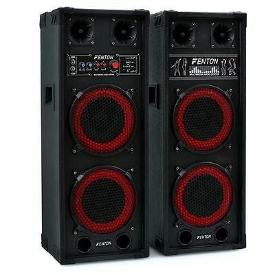 "Pair Pa Speakers 8"" Dual Bass Disco 800W Usb Sd Mp3 Music Home Dj Hifi Party New"