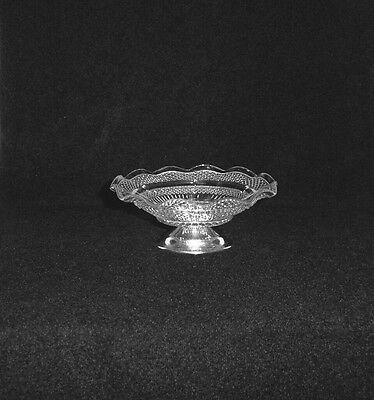Vintage Glass & Silver Plate Footed Ruffled Edge Nut Dish