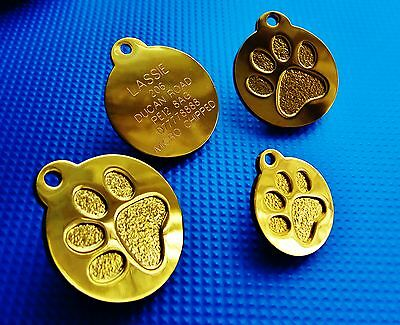 Round Paw Dog Pet ID Tags Disc Dog tag or Cat tag Engraved Free CG