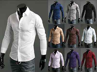 New Luxury Shirts Mens Casual Formal Slim Fit Shirt Top  S M L XL XXL PS01