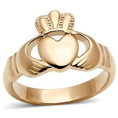Stainless Steel Rose Gold GP  Irish Celtic Pink Heart King Claddagh Crown Ring
