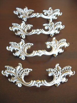 4 VTG Nos Brass WATERFALL Dresser DRAWER Pulls Provincial Shabby Chic White • CAD $101.61