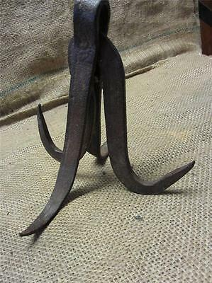 Vintage Handforged Iron Hooks > Hanger Antique Fireplace Farm Steampunk 8543