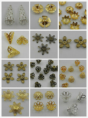 50/100Pcs Silver/Gold/Copper/Bronze Plated Color Metal Flower Bead Caps 18 Style