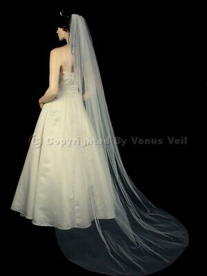 1T Ivory Bridal Cathedral Length Cut Edge Wedding Veil