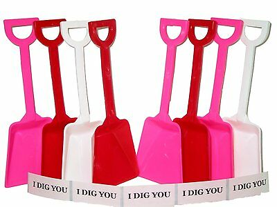 65 Mix of Red White Pink Toy Plastic Shovels & 65  I Dig You Stickers Mfg USA