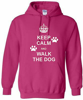 Kids Keep Calm And Walk The Dog Personalised Hoodie With Name Hoody Ages 5-15