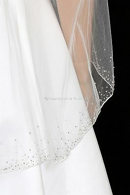 "1T White Bridal Fingertip Length 2.5"" Wide Crystal Beaded Edge Wedding Veil"