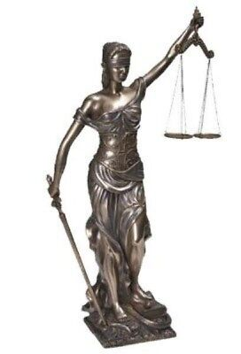 "Lawyer Gifts Blind Lady Scales of Justice 18"" Bronze Tone Cold Cast Resin Figure"