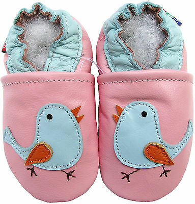 carozoo bird pink 4-5y soft sole leather kids shoes
