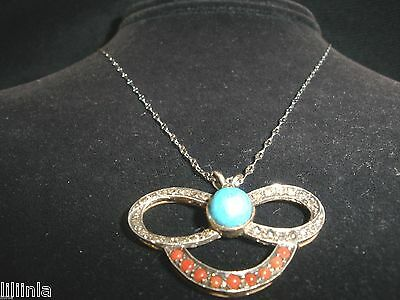 Own Antique 3 Ct Diamond & Persian & Ruby Turquoise 14K Pendant Necklace