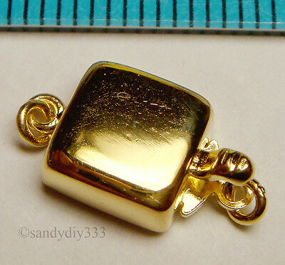 1x REAL 18K GOLD plated over STERLING SILVER 1-STRAND PEARL BOX CLASP 7.8mm G081
