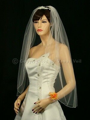 1T Ivory Bridal Fingertip Length Pencil Edge Wedding Veil