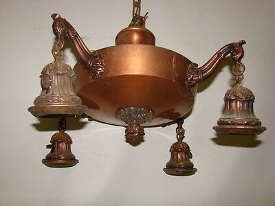 Antique Ornate Victorian Brass Pan 4 Light Chandelier 20""