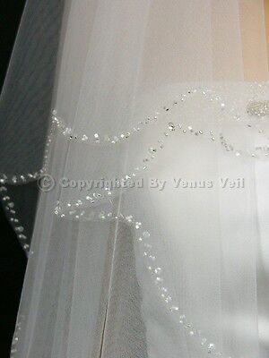 2T White Bridal Fingertip Length Scalloped Beaded Edge Wedding Veil