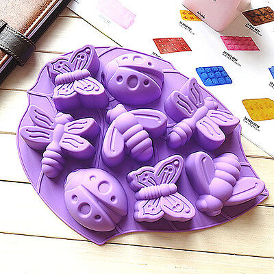 7048 Rare Beetle & Butterfly & Dragonfly On The Leaves Shape Silicone Cake Mold