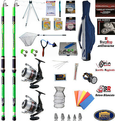 2 Canne Da Pesca Surfcasting - Surf Casting - 2 Mulinelli + Kit Deluxe  Completo 0767c7f8acef