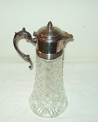 LARGE GLASS DIAMOND PRESSED PATTERN AND SILVER-PLATE FANCY PITCHER