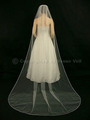 1T Ivory Bridal Cathedral Length Rattail Edge Wedding Veil