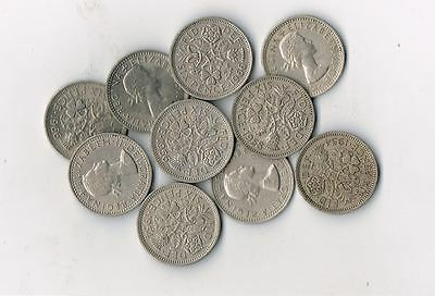 LOT OF 15 BRITISH WEDDING SIXPENCE COINS Elizabeth II  UK ENGLAND