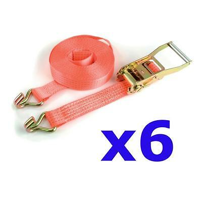 6 x Heavy Duty 5 Ton ratchet straps 10M long trailer load securing tie downs