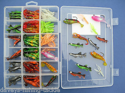 230pc SOFT BAIT TACKLE BOX LURE SET JIG HEADS SHADS CURLY TAIL WORMS DROP SHOT