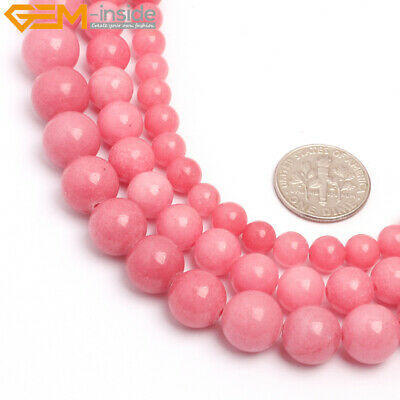 "Round Coral-Pink Jade Stone Loose Beads For Jewelry Making 15"" Wholesale Beads"