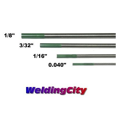 """4-pk TIG Tungsten Electrode Pure (Green) Assorted .040""""-1/8"""" 