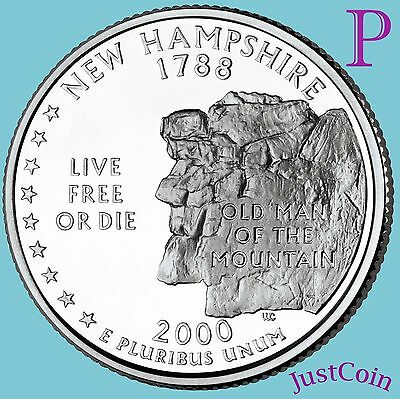 STATE QUARTER UNCIRCULATED FROM MINT ROLL NH 2000 P NEW HAMPSHIRE