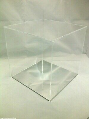 Square Acrylic Display Presentation Box 5 Sided Cube With Colour Perspex Base