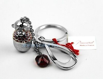 BACCARAT ZOO COLLECTION MONKEY TIN KEY RING CHAIN CHARM RUBY CRYSTAL FRANCE NEW