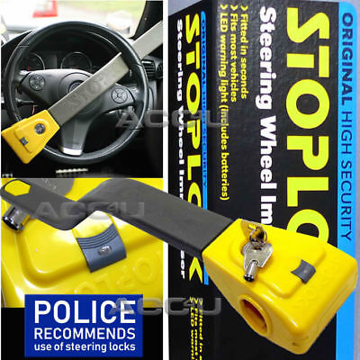 StopLock Original Robust High Security Flashing LED Car Van Steering Wheel Lock
