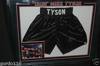 IRON Mike Tyson Heavyweight Boxing Fight Autographed Shorts Trunks  COA Framed
