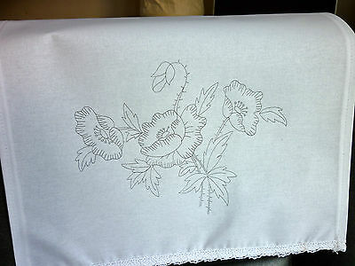 Printed Embroidery pair chair back covers white 100% cotton lace Poppies CSOO76