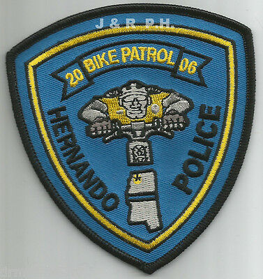 "Hernando - Bike Patrol, MS  (3.75"" x 4"")   shoulder police patch (fire)"