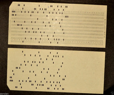 VINTAGE PUNCHED CARD PERFORATED Program Code Soviet USSR Computer Mainframe 2pcs