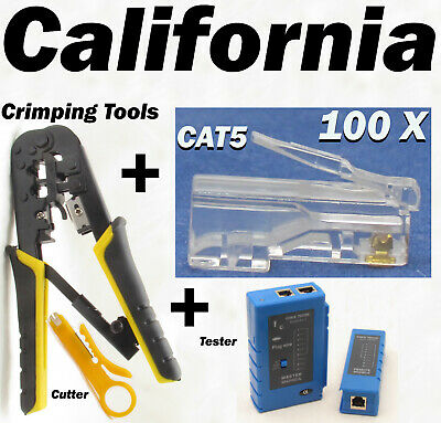 Network Tester + Crimping + 100 RJ45 CAT5 8P8C Connector Plug Tool Kits + Cutter