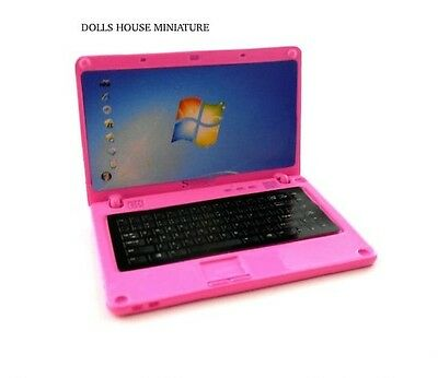 Dolls house Miniature Pink Laptop. 1/12 scale computer Girls womens
